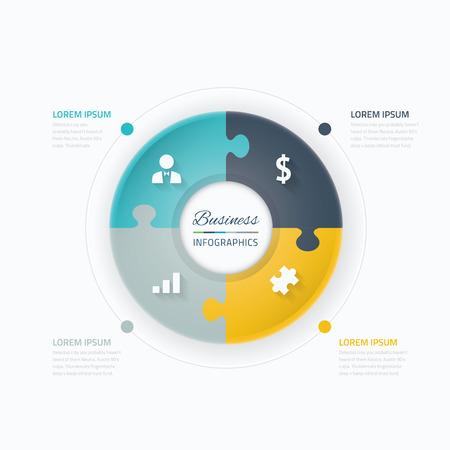 puzzle piece: Elementos infograf�a negocios vector C�rculo con pieza del rompecabezas concepto y los iconos
