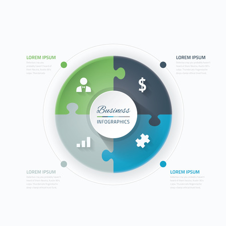puzzle set: Blue and green puzzle piece circle business vector infographics