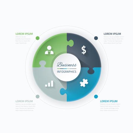 puzzle piece: Pedazo del rompecabezas infograf�a vector c�rculo azul y verde Vectores