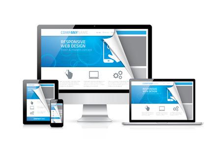 sites web: Vecteur de conception de sites Web Responsive avec des appareils �lectroniques r�alistes Illustration