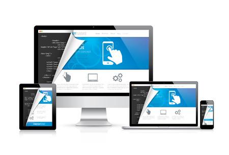 インターネットとモダンなフラット クールなデザイン開発をコーディング