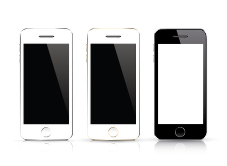 Three isolated smart phone vector  Black and white smartphone isolations with realistic design Stock Vector - 29127843