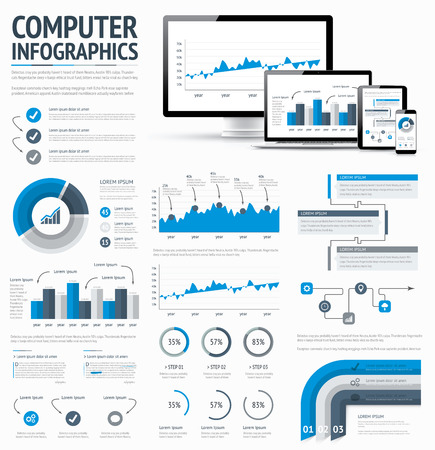 Information technology statistics infographic elements template vector EPS10 illustration Stock Vector - 29126989
