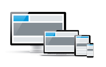 Create responsive web site design in four electronic vector devices Vector