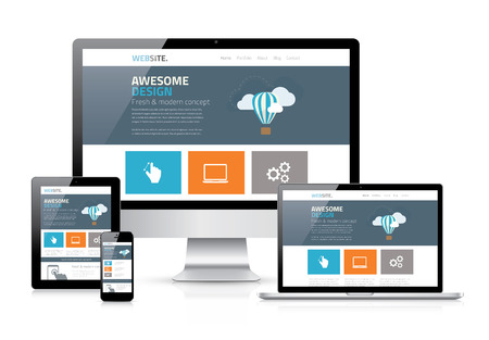 Moderne flat webdesign in responsieve website vector