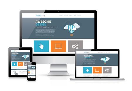 Modern flat web design in responsive website vector Illustration