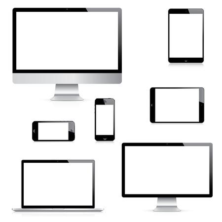 현대 격리 된 컴퓨터, 노트북, 태블릿 및 스마트 폰 벡터