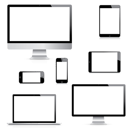 Modern isolated computer, laptop, tablet and smartphone vectors Çizim