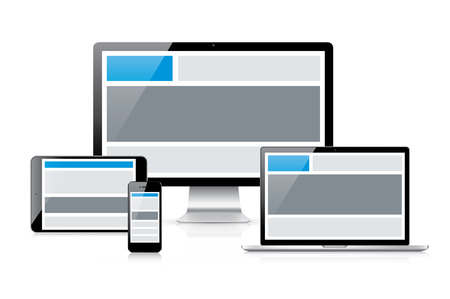 Simple and effective responsive web design idea concept vector  See how header and other web elements change in devices