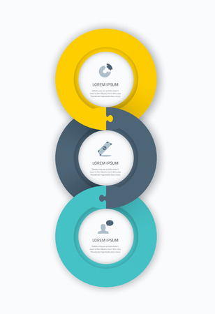 Infographic circle timeline web template for business with icons and puzzle piece jigsaw concept  Awesome flat design to be used on web, pring, brochure, advertisement, etc  Vector