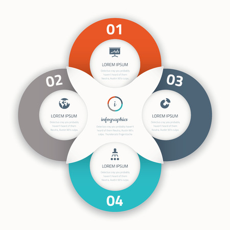 Modern four infographic vector options business template icons Illustration