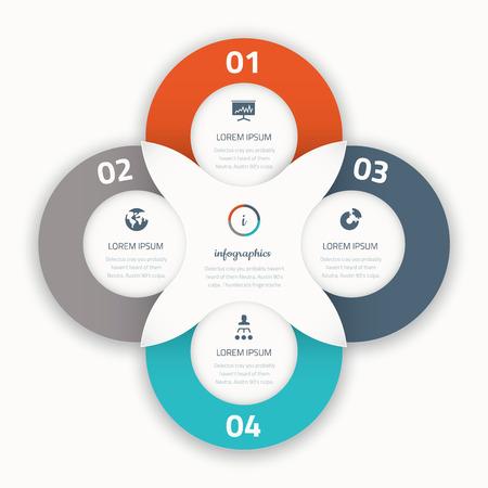cuatro elementos: Modernos iconos de la plantilla de negocios cuatro opciones de vectores infográficas