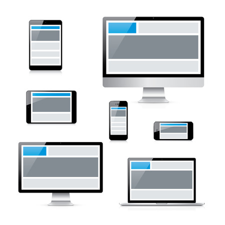 Modern isolated electronic devices with responsive web design grid Vector
