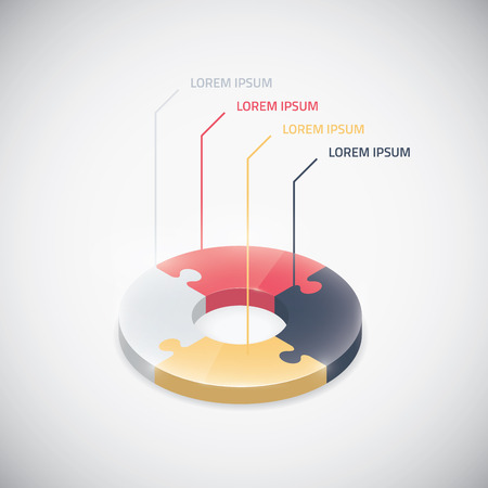 Infographic puzzle piece vector jigsaw business circle element