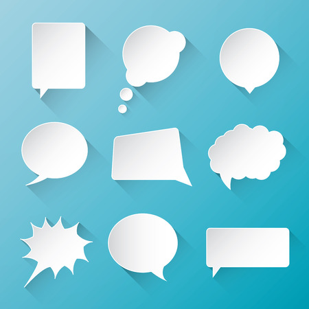 shadow speech: White vector communication speech bubble clouds with flat long shadow