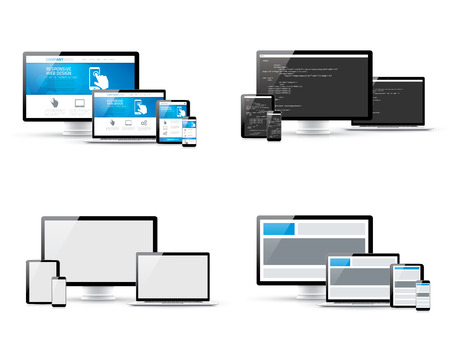 Set of responsive web design and website coding development concepts Vector
