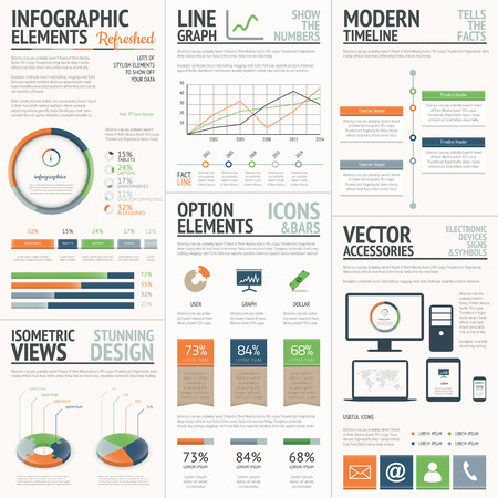 Fresh and stylish orange and green vector infographics elements