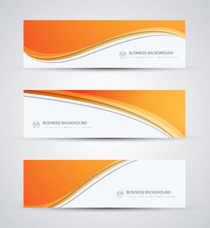 ビジネスのベクトルの背景を抽象的な美しいオレンジ色の波をバナー  イラスト・ベクター素材