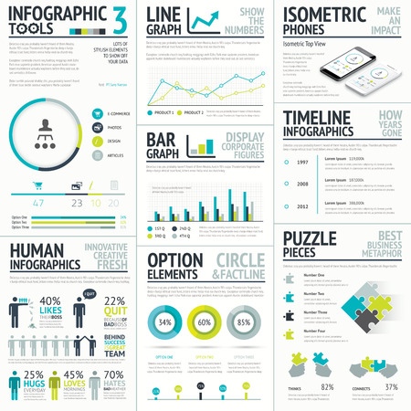 Business and human infographic element big set collection Vector