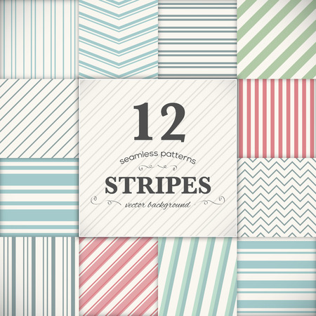 Set of 12 stripes and lines seamless texture backgrounds Stock Vector - 29493610