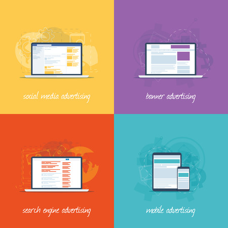 Flat web design icons for internet marketing concepts  Stock Vector - 29493342