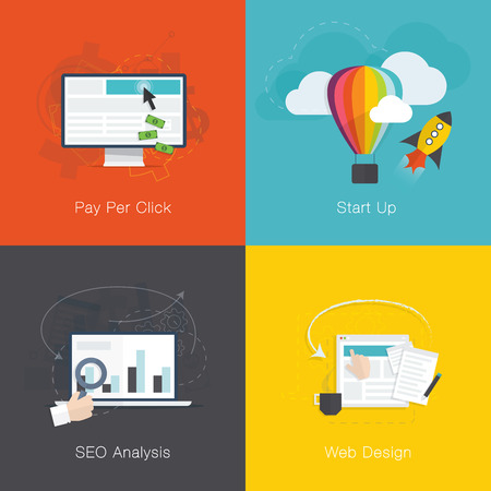 Flat web development internet business concepts set