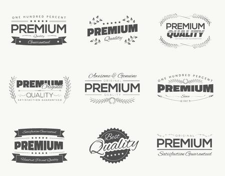 Vintage premium quality black vector labels and badges set