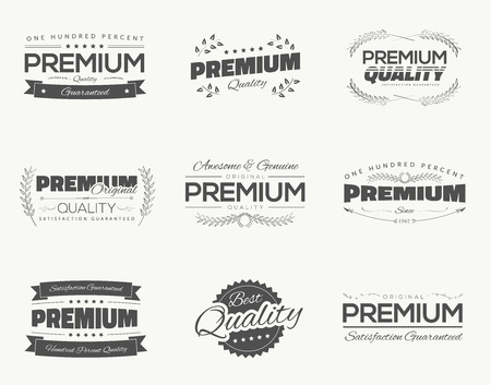 best quality: Vintage premium quality black vector labels and badges set