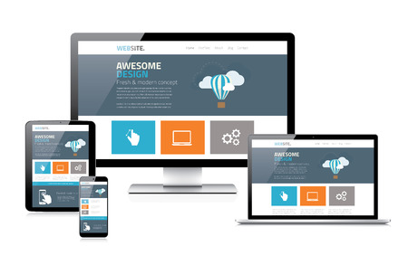 Modern flat responsive web design vector illustration devices Çizim