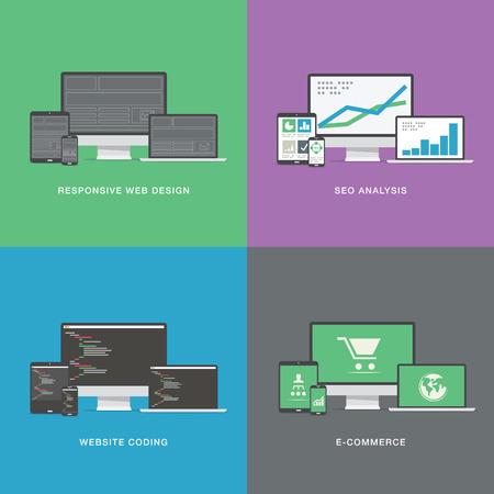 electronic device: Flat web development electronic vector device icons Illustration