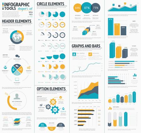 大規模なインフォ グラフィック ベクトル要素テンプレート デザイナー コレクション