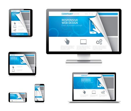 Kavisli kağıt köşesi ile duyarlı web tasarım vektör kavramı