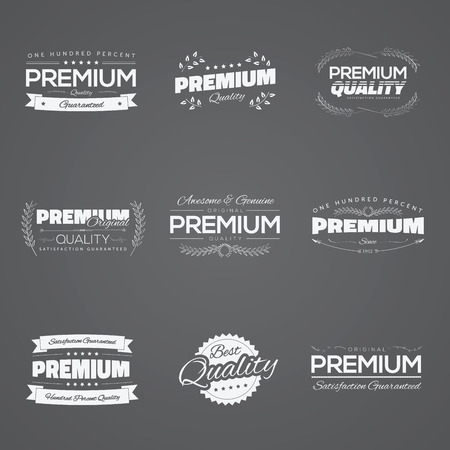 Vintage premium quality stickers and elements black vector set Stock Vector - 30181852