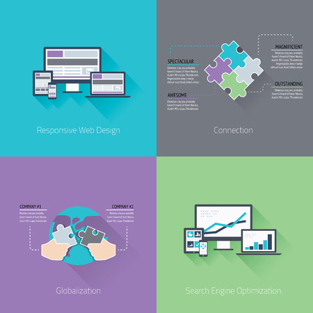 Web development minimal flat business vector computer concepts Illustration