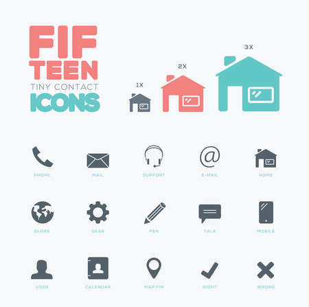 One color vector contact   communication small icons set Stock Vector - 30181858