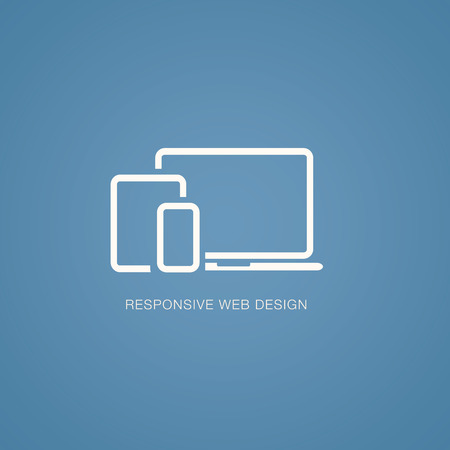 Vector illustration of responsive web design in laptop, tablet and smartphone Illustration