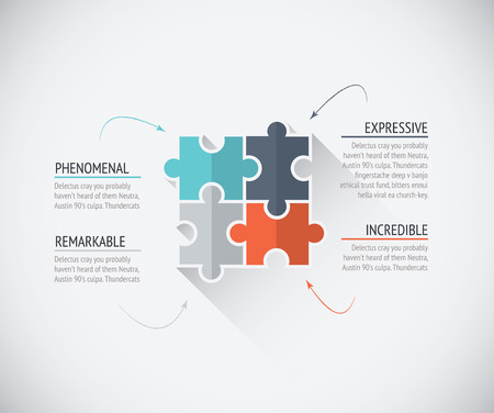 Four flat color puzzle pieces business connecting jigsaw vector Vector