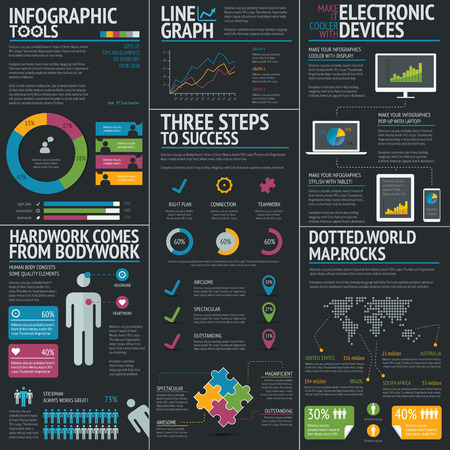 Infographic business vector template set on black background