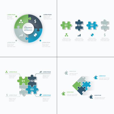 Set of puzzle pieces jigsaw business infographics concept vector Illustration