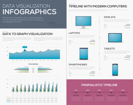 Clean data visualization infographics graphs, bars and timelines  Modern tablet, mobile phone, laptop and computer storyteller