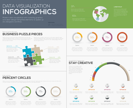 Modern data visualization infographics with jigsaw puzzle pieces Stock Vector - 30544044