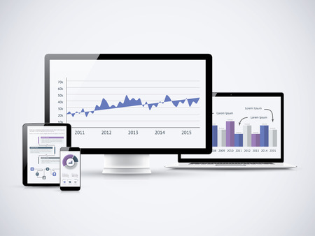 Analyzing financial statistics on the computers Stock Vector - 30545394