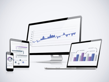 IT computer statistics with laptop, tablet and smartphone