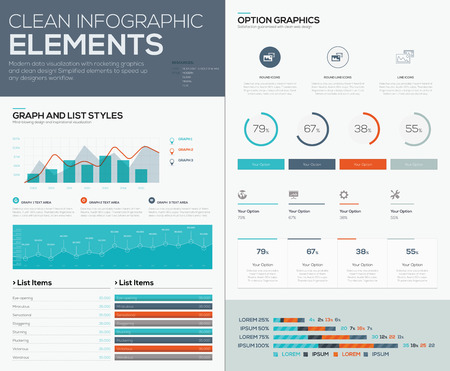 Graphs and pie charts for infographic data visualization