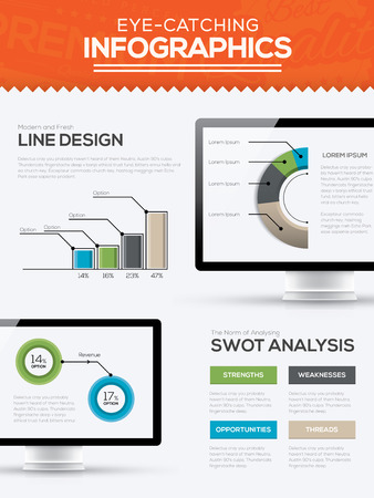 Modern trendy infographic template with computer timeline