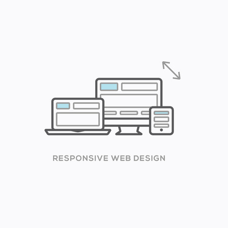 small size: Responsive web design illustration in cool modern outline style
