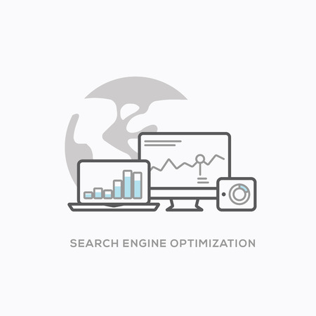 Search engine optimization illustration with cool outline style