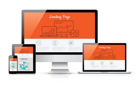 Responsive landing page ontwikkeling sjabloon illustratie