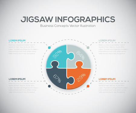 Jigsaw infographics vector business puzzle piece fresh template Stock Vector - 30612837