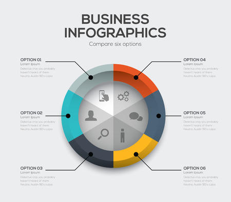 six web website: Business options Modern ui infographics with six choices Illustration